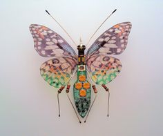 The Long Legged Butterfly, Circuit Board Insect by Julie Alice Chappell by DewLeaf on Etsy