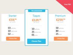 Tabla de precios gratuita en formato PSD
