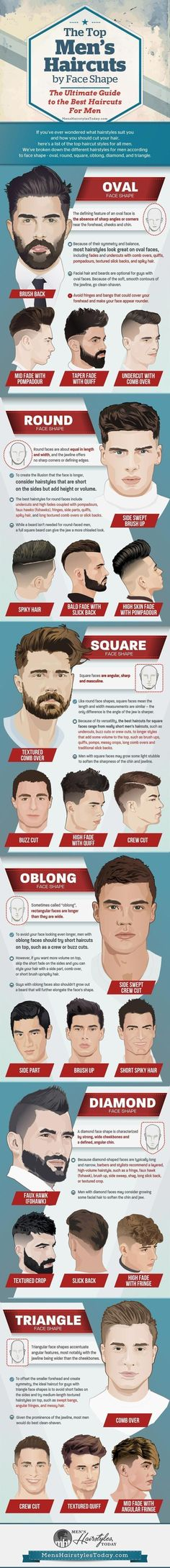 The Best Hairstyles For Men By Face Shape - The Ultimate Guide to Cool Men's Haircuts (Fades, Undercuts, Pompadours, Side Parts, Comb Overs, Quiffs, and Spiky Hair) #3dprintinginfographic