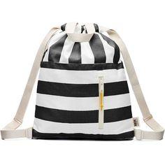efce6cf7f1 Drawstring Black and White Stripe Bag