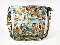 Birds of Spring Handmade Fabric Purse / Cross Body Handbag / 11 Pockets / Case for Glasses by darlingsdesigns on Etsy