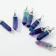 Create a bohemian look this season with this beautiful amethyst bullet stone necklace. This semi-precious amethyst quartz pendant sits on a long vintage silver chain. I pick quality stones so every necklace gets a beautiful fluorite pendant but each cr...