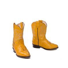 Mustard Yellow Toddler Cowboy Boots Vintage Child Western Wear size 9 - 10