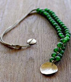 """Stunning bead-necklace by the jewelry designer """"Asa:. Vicki YOu should make me this necklace I LOVe it! Silver Bar Necklace, Green Necklace, Sterling Silver Necklaces, African Beads Necklace, Beaded Necklace, Beaded Bracelets, Chunky Bead Necklaces, Chunky Beads, Royal Copenhagen"""
