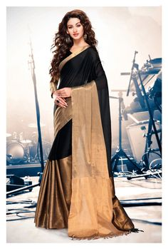 Buy Black Cotton Saree With Blouse 69920 with blouse online at lowest price from vast collection of sarees at Indianclothstore.com.