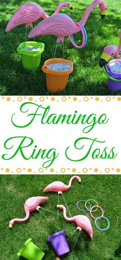 Summertime Flamingo Ring Toss Summertime calls for fun games in the yard with the whole family! The kids are getting older and that means they literally [. Summer Party Games, Garden Party Games, Kids Party Games, Hawaiian Party Games, Block Party Games, Camping Party Games, Outdoor Party Games, Outdoor Games For Kids, Outdoor Parties