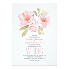 Shop Elegant Floral Watercolor Wedding Invitations created by jinaiji. Rustic Bridal Shower Invitations, Bridal Shower Cards, Pink Wedding Invitations, Bridal Shower Rustic, Invites, Elegant Invitations, Bridal Showers, Wedding Stationery, Party Invitations