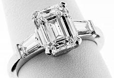 Carat GIA Emerald Cut Diamond and Platinum Engagement Ring Engagement Sets, Platinum Engagement Rings, Best Engagement Rings, Vintage Engagement Rings, Antique Wedding Rings, Diamond Wedding Rings, Vintage Rings, Emerald Cut Diamonds, Diamond Cuts