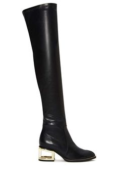 Who needs pants when you have these babies? The Basie Boot has zipper detailing at base, structural metallic heel with cutout design, side zip closure, and thigh-high leather shell that'll keep you super warm (slash super hot) through the chilly months.