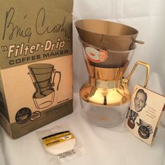 "Vintage Bing Crosby ""Filter Drip"" 6 Cup Coffee Maker New in Box"