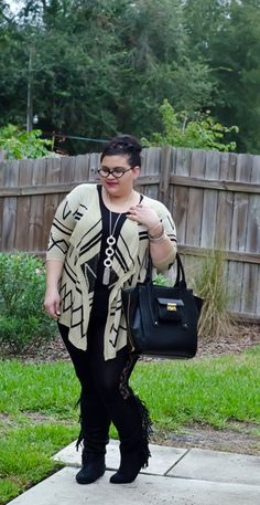 #tribal print waterfall @Deb Shops cardigan with #lace paneled leggings and my favorite new #fringe boots! #ootd #plussizefashion #plussizestyle #curvy