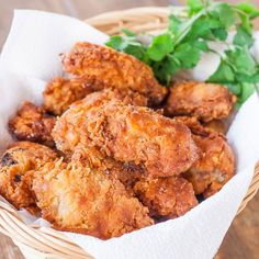 Buttermilk Fried Chicken----A good recipe that is simple and I think it would be delicious!  These are wings but can use any parts. With these, she said about 7 minutes on the first side and 3-5 on the second side.  Salt after frying!  YUMMMMY!