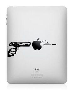 Shot - iPad Decal iPad Stickers iPad Decals Apple Sticker for Macbook Pro / Macbook Air / iPad / iPad2 / New iPad / iPhone. $6,80, via Etsy.