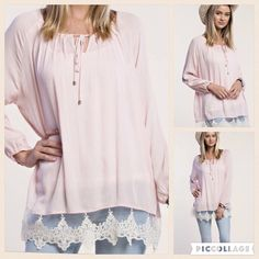 Gauze & lace top 100% rayon. Light weight and airy. So feminine. Is slightly pleated at neck with tie. PRICE FIRM UNLESS BUNDLED Boutique Tops Blouses
