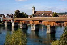 Bad - Säckingen, Holzbrücke über den Rhein in die Schweiz