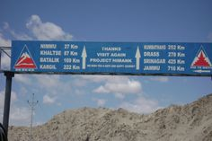 Sign board on way to kargil from leh