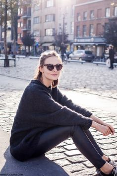 tort sunglasses, cozy knit, leather leggings & sneakers #style #fashion
