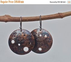 ON SALE Copper earrings Rustic copper Copper by FlowerOfParadise