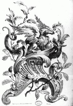 Imaginarium-Rococo: Fabulous Being and Rocaille. Alexis Peyrotte, Ornement: rinceau et feuillage rocaille | Dragon-Rocaille Ornament, engraving by Gabriel Huquier,  Paris, 18th century.