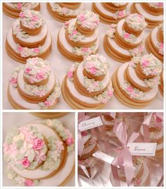 27 Spectacular Stacked Wedding Cake Cookies we ❤ this! moncheribridals.com #weddingcookies #weddingdesserts #weddingfavors