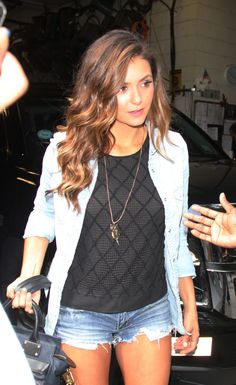 Nina Dobrev in AEO Denim Shorties