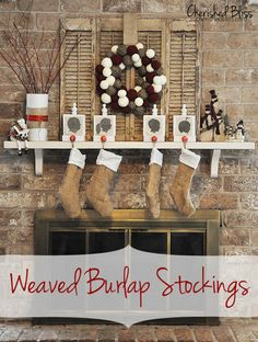 wood shutters, pretty wreath and burlap stockings