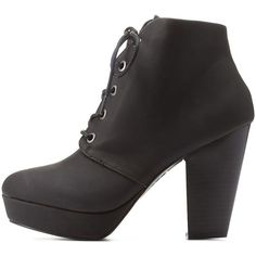 Charlotte Russe Black Bamboo Chunky Heel Lace-Up Booties by Bamboo at... ($43) ❤ liked on Polyvore