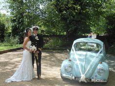 VW Beetle wedding car at a lovely wedding in Wimborne