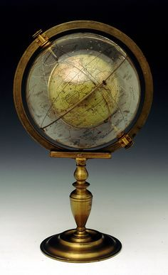 The Cosmosphere consists of a printed terrestrial globe, set inside a revolving glass celestial globe. It was invented by Dr William Muller, a major of the Royal Hanoverian Engineers from Woolwich 1829.