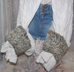Lamb Cuffed Cream Colored Shrug Sweater Gypsy by Ramblinrose67, $45.00