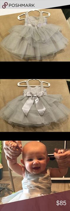 Janie and Jack fancy silver dress Silver dress with layers of tulle and big silver bow in back Janie and Jack Dresses Formal