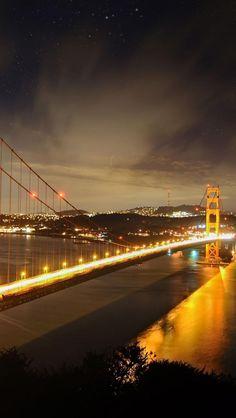 Golden Gate Bridge, Bridge, San Francisco, Ocean, Lights, Night