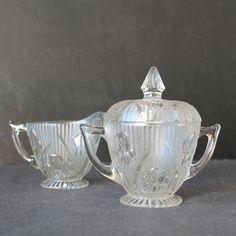 Antique Creamer and Sugar Sets | Vintage Iris and Herringbone Cream and Sugar Set.