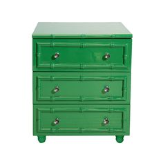 Green Lacquer Bamboo Detailed 3-Drawer Side Table - Worlds Away - $1,428 - domino.com