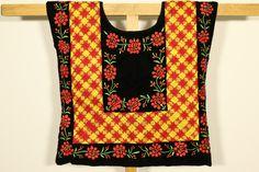 Colección de tehuana vintage,  valor histórico. Modelo antiguo: cadenilla y flores tejidas a mano en terciopelo negro de CadenillayFlores en Etsy