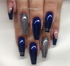 Nails in your blue - Nail Design Ideas! : Nails in your blue Blue And Silver Nails, Navy Blue Nails, Blue Coffin Nails, Blue Acrylic Nails, Silver Glitter, Blue Gel Nails, Glitter Nails, Sexy Nails, Prom Nails