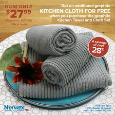Attention USA! From noon, CDT, October 10 to noon, CDT, October 12, 2017, purchase a graphite Kitchen Towel and Cloth Set and receive an additional graphite Kitchen Cloth FREE! Contact a Consultant to get yours http://norwex.biz/en_US/find-a-consultant