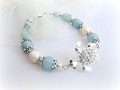 Sea turtle bracelet stone beaded bracelet sea by MalinaCapricciosa