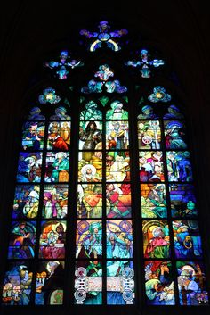 Alphonse Mucha - stained glass in St Vitus Cathedral in Prague Castle. Wikipedia, the free encyclopedia