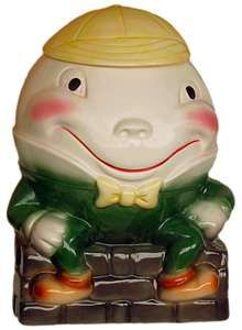 "How adorable, hope it's yours now..... ""Humpty Dumpty cookie jar, this was my mom's"""