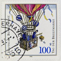 Germany 100pf (history of postal system, balloon ~ 1900)