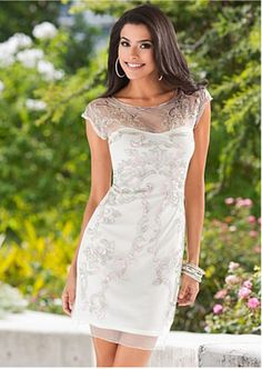 Dress: mesh, sheer, white, silver, embroider, sequins, short, sleeve - Wheretoget