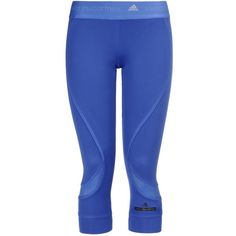 Stella Mccartney Flight Blue Run 3/4 Length Leggings ($56) ❤ liked on Polyvore featuring pants, flight blue and stella mccartney