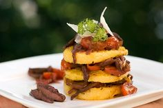 Mushroom and Polenta Napoleon. Looks good and would be nice for a dinner party. Posh looking food