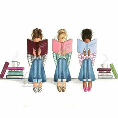"""""""Ideal night to get lost in a book . """"The Fine Art Of Staying In"""", """"Sofa Chic"""", and """"Bookshelf Chic"""". Shop link in bio (Diy Art Book) Best Friend Drawings, Bff Drawings, Illustration Mode, Best Friends Forever, I Love Books, Read Books, Fashion Sketches, Fashion Art, Book Art"""