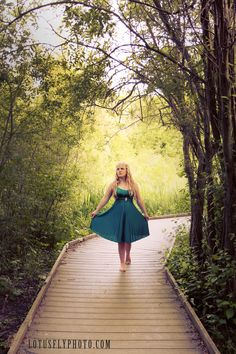 I love the fairytale feel of this portrait. Location shoots in natural places are my absolute favorite!    green dress, long blonde hair, fairy tale, forest, woods, portrait photography, Milwaukee photographer, lotusfly Photography