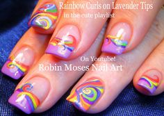 Rainbow Curl Nails!! #nailart #nails #nail #art #howto #rainbow #diy #design #tutorial #simple #easy #lavender #frenchtips #abstract #trendynails #curls #diy