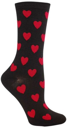 Crew sock with classic red valentine hearts, available on a white or black background. Fits women's shoe size 5-10.
