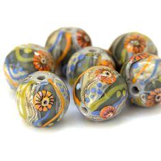 Summer Blooms - Round Lampwork Glass Bead Set by Sarah Hornik