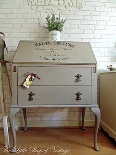 Vintage Writing Bureau with Decal Transfer Annie Sloan French Linen
